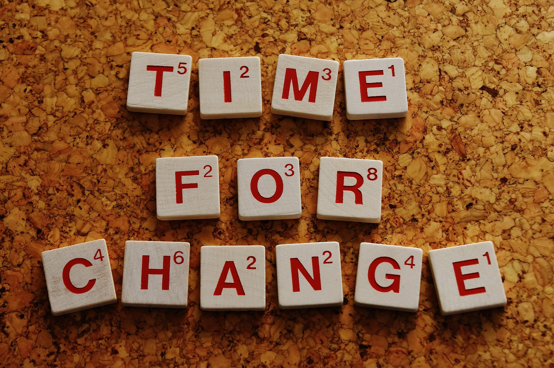 Scrabble letters spelling 'Time for Change'. Photo by Alexas Fotos on Pixabay